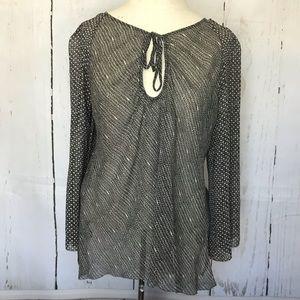 MAX STUDIO 100% silk b&w blouse